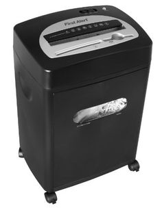 First Alert SC121DF 12-Sheet Cross-Cut Shredder, Black/Silver by First Alert. $99.90. From the Manufacturer                The First Alert SC121DF cross cut paper shredder accepts up to 12 sheets of standard stock paper at a time and slices them into completely unreadable 3/8-inch by 1-3/4-inch pieces. It will even shred stapled sheets. A separate slot for shredding CDs, DVDs, and credit cards offers an added level of security by destroying personal media files. The th...