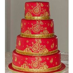 Red And Gold Wedding Cake Indian Inspired