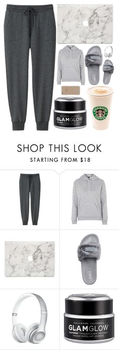 """sunday *3"" by beautybyee ❤ liked on Polyvore featuring Uniqlo, Topshop, Agent 18, Puma, Supra, GlamGlow, Beauty and twoways"