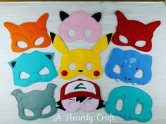 9 Pokemon Mask Set **READY 2 SHIP**  RTS Felt Dress Up Masks - Halloween Mask…
