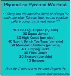 Plyometric pyramid workout via @SweetNHealthy #fitfluential