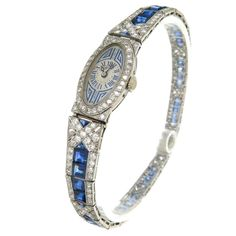 French Lady's Art Deco Sapphire Diamond Platinum Bracelet Wristwatch | From a unique collection of vintage wrist watches at https://www.1stdibs.com/jewelry/watches/wrist-watches/ #antiquebracelets