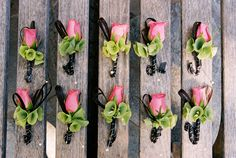 Pink, green and black wedding boutonnieres, photo by Yvette Roman Photography