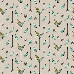 Arrows and Feathers Mint fabric by kimsa on Spoonflower - custom fabric