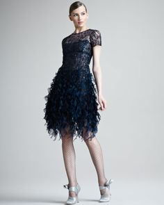 Beaded Ruffled Dress by Oscar de la Renta...I know this is cocktail...but it will definitely work for evening.
