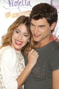 """Diego Dominguez and Martina Stoessel attend the """"Violetta"""" photocall at the Emperador Hotel on June 2013 in Madrid, Spain. Show, Couple Photos, Celebrities, Love, Google, The World, Martina Stoessel, Disney Couples, Concert"""