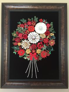 Vintage & Costume Jewelry Christmas Holiday Frestive Bouquet Framed Art by NotTooShabbyDesignCo on Etsy