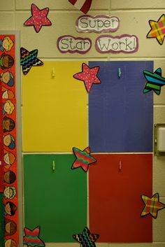 Superstar work is pinned up on the wall. source of pride for that students and model/motivation for others! teachers-have-class Star Themed Classroom, Stars Classroom, New Classroom, Classroom Setup, Classroom Design, Classroom Displays, Class Decoration, School Decorations, Good Work Display