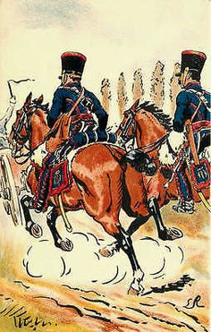 French Army First Empire Uniforms 1807 Horse Artillery Antique Vintage Postcard French Army Artist Signed Napoleon First Empire uniforms of horse artillery taking their position in Friedland Prussia i