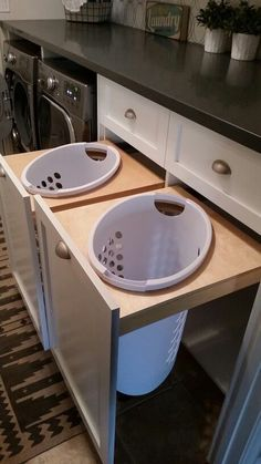 Laundry room, laundry room ideas, pull out hampers, laundry room makeover, great idea, space saver
