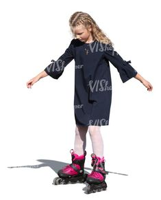 cut out girl rollerblading