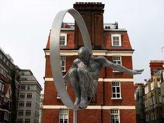 """Volare"" (lit. to fly) by Lorenzo Quinn  Brown Hart Gardens, Duke Street  Mayfair, London"
