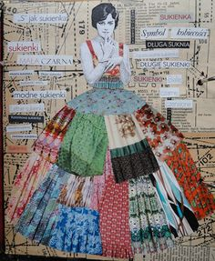 VARIETY collage by Urtica; like the variety of pieces in the skirt! mixed media, VARIETY collage by Urtica; like the variety of pieces in the skirt! Collage Kunst, Art Du Collage, Mixed Media Collage, Collage Portrait, Collage Artists, Art Collages, Collage Book, Collage Drawing, Mixed Media Journal