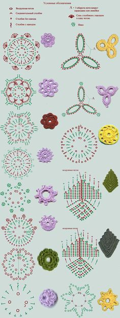 Crochet Lace Diagram for several crochet motifs (image) - Plenty of little crochet flowers to make! Irish Crochet Patterns, Crochet Motifs, Crochet Diagram, Lace Patterns, Crochet Designs, Irish Crochet Charts, Afghan Patterns, Freeform Crochet, Amigurumi Patterns