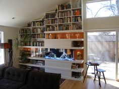 Vaulted ceiling shelves