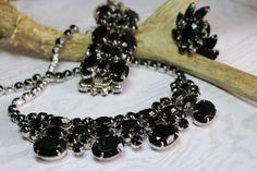 BLACK DEMI PARURE ,Unique Set Black Glass Rhinestones, Bracelet, Necklace, Earrings 1950s, Vintage by FrancieLouiseJelly on Etsy