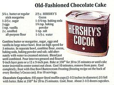 Cake - Old Fashioned Hershey's Chocolate Cake - old fashioned chocolate cake Hershey Recipes, Cocoa Recipes, Homemade Cake Recipes, Cupcake Recipes, Chocolate Recipes, Sweet Recipes, Cupcake Cakes, Dessert Recipes, Desserts