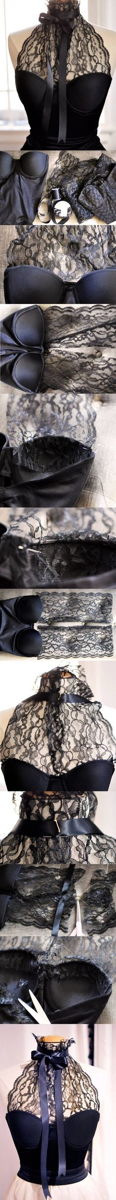 DIY LACE HALTER BUSTIER - I imagine this in white, with a tulle skirt, a diy wedding dress