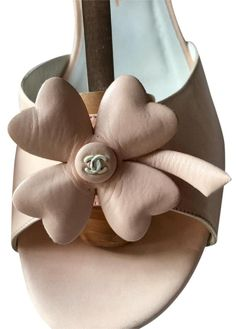 30c5960a77f Blush Very Rare - 4 Leaf Clover Cc Logo Leather Ankle Strap (Sz. 39) Sandals