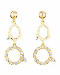 Mimi So Jackson Yellow Gold Diamond 2-Drop Earrings