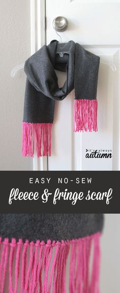 Learn to make an easy, inexpensive fleece scarf with trendy fringe trim with this simple tutorial. Great cheap gift idea - perfect for women or teens.