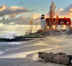 "Lighthouse Dawn"": Point Betsie Lighthouse, Lake Michigan By John McCormick"