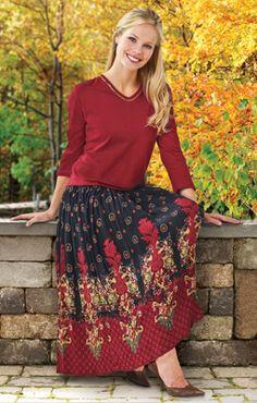 Modest Elegant Burgundy Drawstring Elastic Waist Skirt