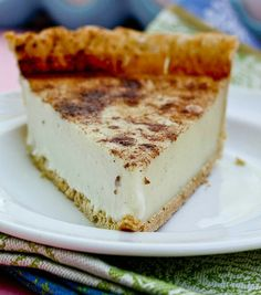 Sugar Cream Pie - this sweet custard pie is FOOLPROOF!! I love the cinnamon topping and how it stays in neat slices when you cut it instead of running all over the plate.