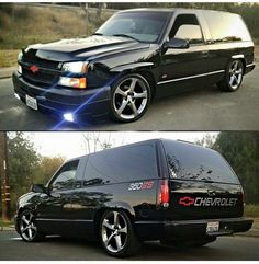 chevrolet tahoe with a newer silverado front clip and camaro wheels!