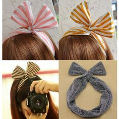 China Rabbit Bunny Ear Diy Wire Headbands Scarf Bowknot hair Accessories