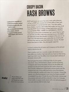 Chrissy Teigen Crispy Bacon Hash Browns
