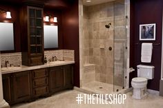 A traditionally designed travertine bathroom