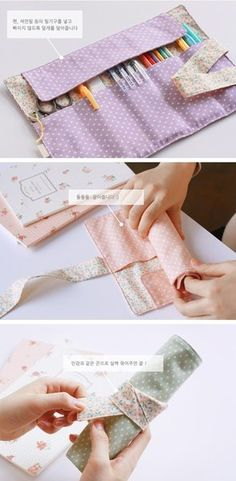DIY Pencil Case - Prepare yourself for a very cute as well as extremely simple embroidery job brought to you from Charlene over at Thinking Outside the Pot. Fabric Crafts, Sewing Crafts, Sewing Projects, Diy Pencil Case, Pencil Case Tutorial, Pencil Holder, Diy Couture, Creation Couture, Fabric Bags