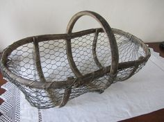 Antique French Oyster Gathering Wire Basket Rustic Home Decor on Etsy, $185.00