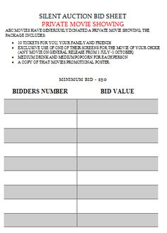 Relay For Life Silent Auction Bid Sheet  Silent Auction Bid Sheet