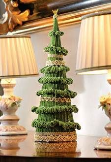 wrap fabric and trim to make tree, good idea