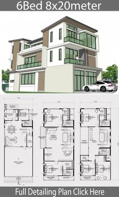 Home design plan with 6 bedrooms. Three-story house Modern style, 6 bedrooms, 5 bathrooms, suitable for living Or doing 2 Story House Design, House Floor Design, Modern House Floor Plans, Small House Plans, Modern House Design, Building Design Plan, Home Design Plans, 6 Bedroom House Plans, Double Storey House