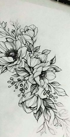 29 ideas for flowers tattoo designs Tattoo Sketches, Tattoo Drawings, Body Art Tattoos, Small Tattoos, Sleeve Tattoos, Flower Drawings, Drawing Flowers, Tatoos, Flower Design Drawing