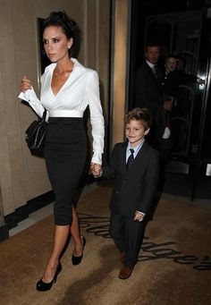 Victoria & Romeo Beckham on the town
