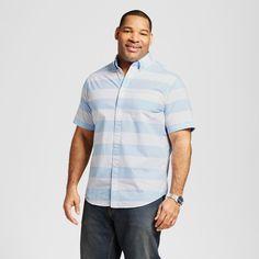 Men's Big & Tall Short Sleeve Button Down Stripe Shirt Midday Blue 3XB Tall - Merona