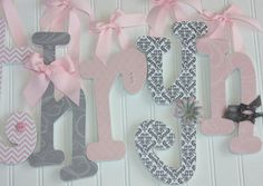 Light Pink & Gray Nursery Letters  Wooden by dottedcrossdesigns, $10.00