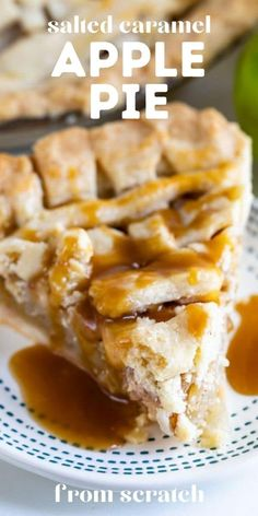 This is the best Salted Caramel Apple Pie! You can use standard caramel or salted caramel – whichever you prefer! This is a great fall dessert. Apple Pie Recipes, Apple Desserts, Fall Desserts, Fruit Recipes, Sweet Recipes, Baking Recipes, Carmel Apple Pie Recipe, Apple Pies, Tart Recipes