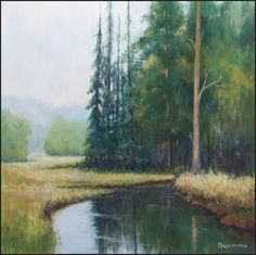Swamp River by Olli Malmivaara Soft pastel painting, 30 x 30 cm