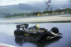 1985  A year later, after moving to Lotus, Senna took his first F1 victory, winning the Portuguese Grand Prix in terrible conditions by over a minute from Michele Alboreto Photograph: Sutton Images/Corbi
