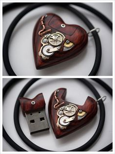 steampunktendencies:  32GB USB Heart Pendant by Artype  Facebook...