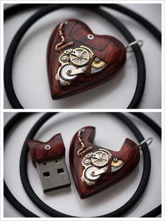 steampunktendencies:  32GB USB Heart Pendant by Artype  Facebook...