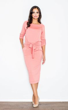 Coral Loose Fitting Long Sleeved Casual Dress ... - SilkFred