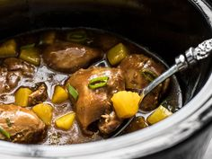 With just a few ingredients, dinner doesn't get easier (or tastier) than this Slow Cooker Pineapple Teriyaki Chicken. Skip the take out tonight! Chicken Recepies, Asian Recipes, Ethnic Recipes, Crockpot Dishes, Teriyaki Chicken, How To Cook Chicken, Pot Roast, Slow Cooker, Pineapple