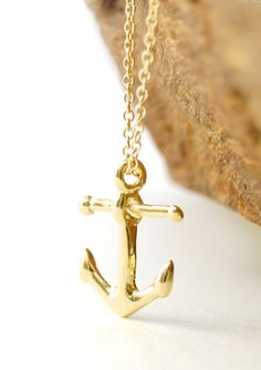 Heleuma necklace  gold anchor necklace gold by kealohajewelry, $34.00