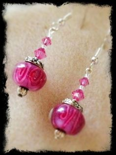 Rose Colored Lampwork & Crystal Earrings by RubySlipper on Etsy, $12.00